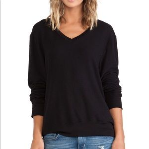 Wildfox Couture Black V Neck Baggy Beach Jumper